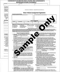 consignment form for cars motor vehicle consignment agreement
