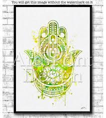golden green hamsa hand watercolor print zen art yoga poster