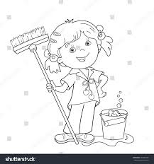 Small Picture Coloring Page Outline Cartoon Girl Mop Stock Vector 440645980
