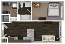 1 bedroom 1 bathroom 1x1 floorplan with 525 square feet