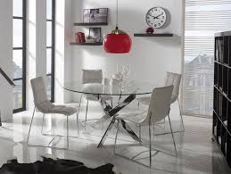 contemporary round glass ruth dining table choice of chrome or white legs thumbnail