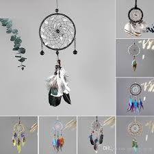 2018 8 designs vintage handmade dreamcatcher net with feather pendant car hanging home decoration ornament art crafts gifts from qwonly