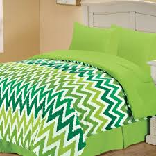chic bedding set in green with neon green and white chevron queen chevron twin bedding set