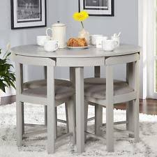 5 piece dining table set grey wood kitchen room 4 chairs pact round furniture