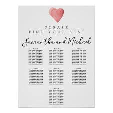 Red Watercolor Heart 7 Table Wedding Seating Chart