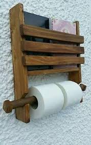 Toilet Roll Holder Magazine Rack Primitive Wooden Book Magazine Towel Rack Wood NaivePrimitive 73