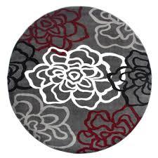 contemporary modern fl flowers red grey indoor round area rug 6 6 round