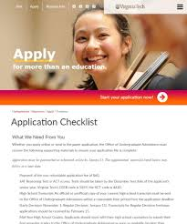 application checklist virginia tech