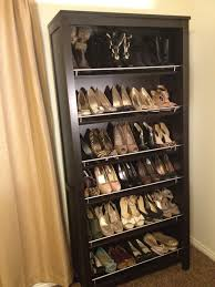 furniture: Trendy Ikea Shoes Rack With Six Storages Made Of Wooden Material  In Black Color