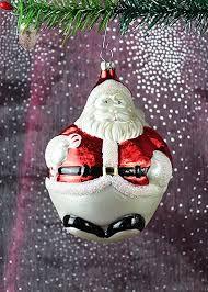 Weihnachstmann Dicker Bauch Ca 12cm Hoch Christbaumschmuck Aus Glas Mundgeblasen Und Handbemalt