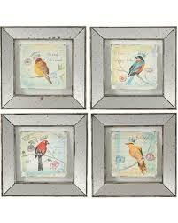 mirror frames glass wall art birds 4 piece set on wall art 4 piece set with check out these bargains on mirror frames glass wall art birds 4