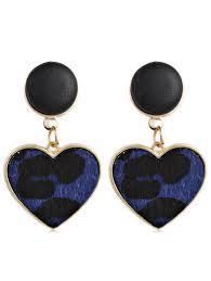heart leopard artificial leather earrings blue