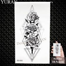 Yuran 3d треугольник лиса временная татуировка наклейки геометрический спрей вода