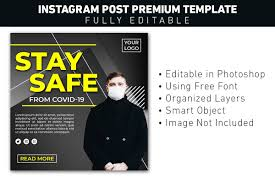 It can be easily used in ms word, photoshop, pagemaker, after completing the installation. Instagram Post Covid Stay Safe Graphic By Ant Project Template Creative Fabrica