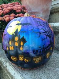 items similar to painted plastic pumpkin with haunted house on
