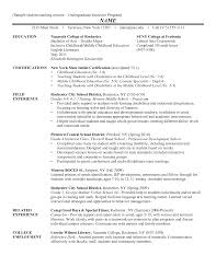 100 Undergraduate Sample Resume Undergraduate Resume Sample