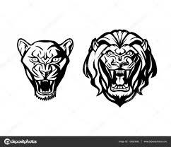 Hlava Lva A Lvice Logotyp Vector šablony Kreativní Ilustrace