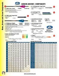 Carbon Tech Arrow Chart 2012 13 Lancaster Archery Supply Archers Wishbook By