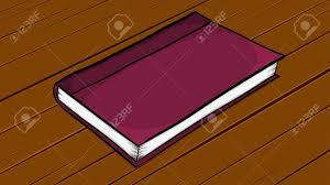 cartoon closed book lying on wooden desk stock vector 95220558
