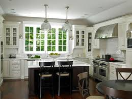Traditional White Kitchen Ideas With Window And Hanging Lamps