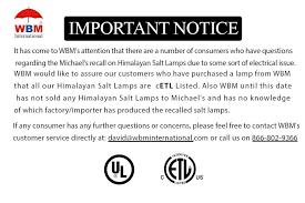 Wbm Salt Lamp Extraordinary Salt Lamp Recall WBM International Do Not Recall Salt Lamps