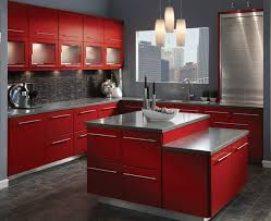Marvelous Red And Grey Kitchen Cabinets Simple Kitchen Interior Design Ideas