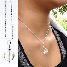custom natural crystal pendant necklace handmade gemstone genuine rock crystal ball silver gold