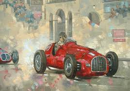 racer painting whiteheads ferrari passing the pavillion jersey by peter miller