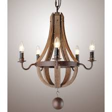 30 french country wood metal wine barrel chandelier pendant 5 lightsceiling lights