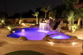 Stunning Swimming Pool And Landscape Waterfalls Outdoor Lighting