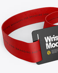 Mockup of three event wristbands against a minimalist surface. Wristband Mockup In Object Mockups On Yellow Images Object Mockups