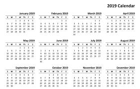 Free Printable Calendar For 2019