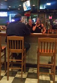 victory bar and grill serving south jersey bartender christine stanley and server bartender marlene pratt joke long time customer maurice colontonio photo morgan grossmann