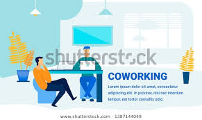 Office Banner Template Coworking Office Promotion Flat Banner Template Stock Vector