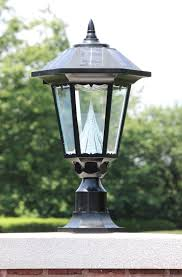 com gama sonic windsor solar outdoor led light fixture 3 gama sonic windsor outdoor solar light gs 99f on its pier mount outside