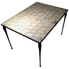 vintage designer iron and capiz shell coffee table hollywood regency