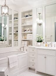 new york bathroom vanity ideas for traditional with built in towel shelves bathtub faucets white crown moldings
