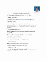 Resume Format For Dentist Freshers New Pg Resume Format Unique Mca