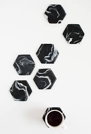 diy hexagon marble coasters