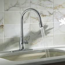 Kohler Brass Kitchen Faucet Single Hole Pull Down Kitchen Faucet Polished Brass Finish Pull