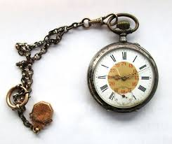 antique pocket watch silver 800 with antique real gold pendant