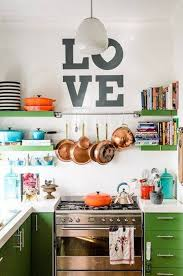 Eclectic Kitchen Eclectic Kitchen Style With Wall Decals And Open Shelves And Wall
