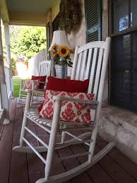 rocking chair front porch design home interior red gingham cushions cushion set