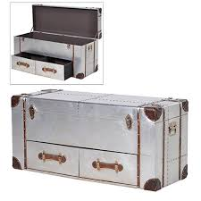 contemporary silver 2 drawer trunk table