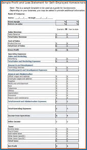 Sample Of Profit And Loss Statement For Self Employed
