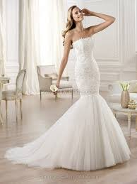 trumpet mermaid strapless tulle sweep train lace wedding dresses 00020308
