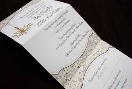 Foldable Invitation Template Gold Brown Chandelier And Ornate Pattern Vertical Trifold Wedding