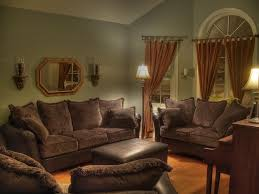 Gray and White Scheme Color Ideas for Living Room Decorating with Vintage  Dark Brown Sofa Furniture