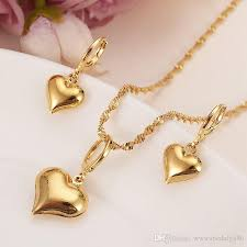2019 24 k yellow solid gold filled lovely heart pendant necklaces earrings women girls party jewelry sets gifts diy charms from abcdefg886