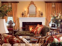 ... Home Decor, Traditional Home Decor With Mirror And Fireplace And  Cushion And Curtain And Wooden ...